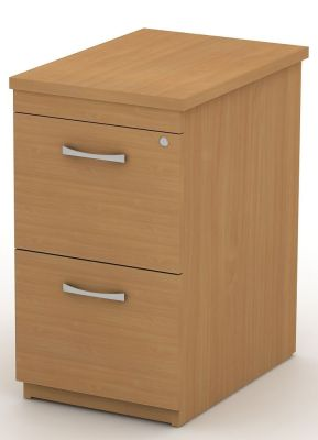 Avalon Beech Two Drawer Filing Pedestal To Fit Beside Your Desk With Bow Front Handles