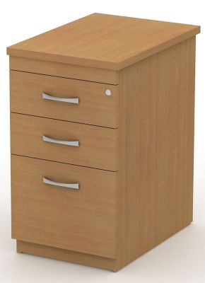 Avalon Three Drawer Pedestal With Filing Drawer And Attractive Silver Handles Fits Beside Corner Desk For Convienent Storage, Wipe Clean In Beech