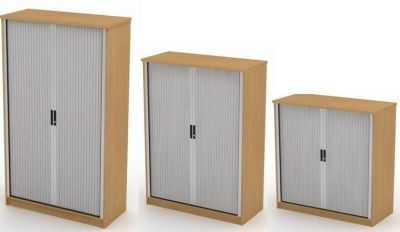 Avalon Cupboard With Sideways Closing Shutter In Silver With Black Handles And Beech Surround In Three Sizes