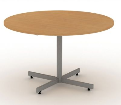 Avalon Circular Meeting Table In Beech With Silver Cruciform Base
