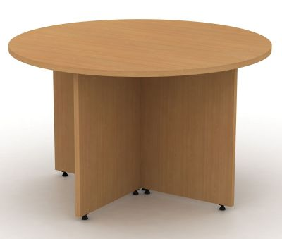 Avalon Round Meeting Table With Arrowhead Base In Beech