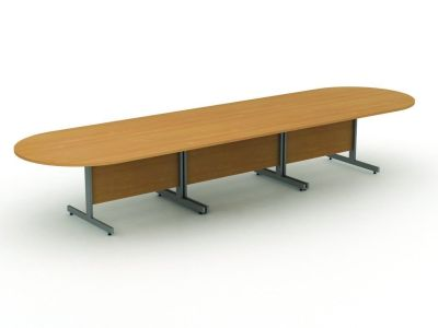 Avalon Modular Meeting Table Comprising Of Two D Sections And One Rectangle In The Centre In Beech