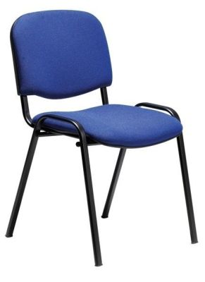 Stakka Conference Chair Covered With Blue Fabric With Black Steel Legs