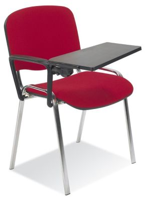 Stakka Conference Chair Upholstered In Red Fabric With Detachable Arms And Black Plastic Writing Tablet