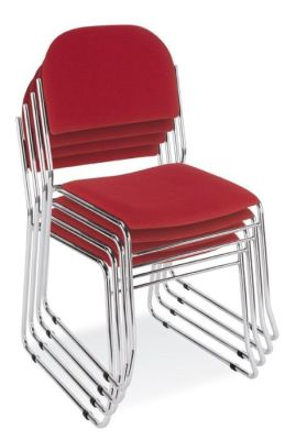 Vesta Skid Base Stackable Chairs With Red Upholstered Back And Seat