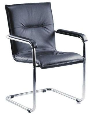Envoy Black Leather Cantilever Frame Conference Chair