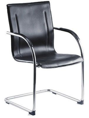 Black Faux Leather Meeting Chair With Chrome Cantilever Frame And Anti Slip Feet