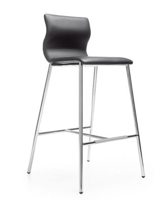 Evora Black Faux Leather High Stool
