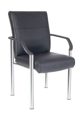 Tornado Leather Conference Chair With Soft Feel Black Leather, Nylon Armrests And Large Seat And Back