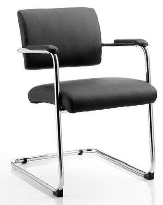 Havana Leather Conference Chair With Chrome Cantilever Frame, Padded Armrests For Extra Comfort In Black