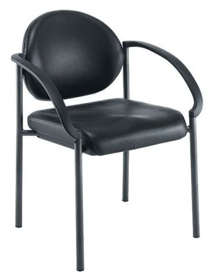 Pinnacle Black Leather Meeting Chairs With Heavy Duty Frame, Nylon Armrests And Is Stackable