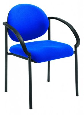 Pinnacle Conference Chair In Blue Fabric With Heavy Duty Steel Frame, Strong Nylon Arms And Stacks Up To 4 High