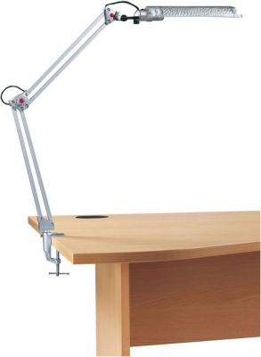 EKO Desk Lamp In Silver With C Desk Clamp