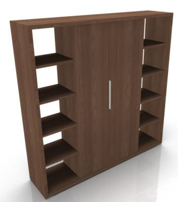 Odessa Designer Bookcase With Wood Finish Doors In Amber Walnut