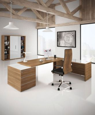 Odessa Designer Bookcase With Wood Finish Doors In An Office Scene With Comlimentary Units