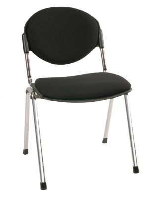 Bradley Designer Conference Chair With Black Upholstered Seat And Back Rest And Stylish Chorme Frame