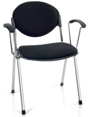 Bradley Designer Styled Chair With Arms That Can Be Fitted Retrospectively In Black Fabric With Chrome Frame