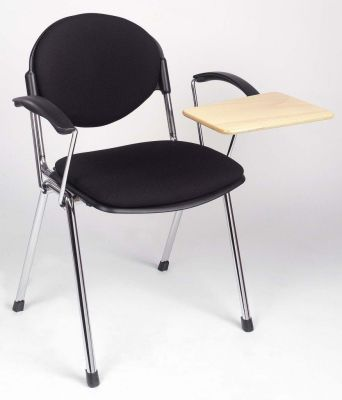 Bradley Meeting Chair In Black Fabric With Wooden Writing Tablet Fitted To The Arm Of The Chair To Enable Use Without A Desk