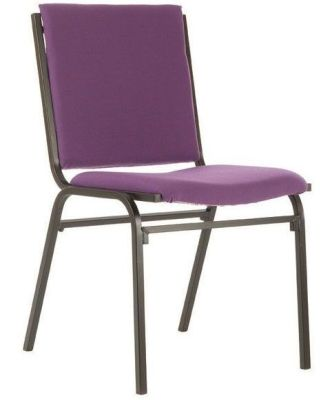 Galaxy Upholstered Conference Chair In Purple Fabric With A Large Back And Seat For Extra Comfort, Fire Resistant Fabric And Black Frame