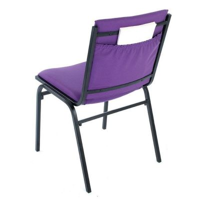 Galaxy Conference Chair Upholstered In Purple Fabric With A Useful Rear Pocket For Storage Of Books,magazines Or Papers With Heavy Duty Steel Frame In Black