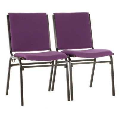 Galaxy Meeting Chair With Purple Upholstery And Black Frame, Linked Using Linking Device