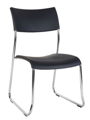 Conference Chair With Chrome Skid Frame, Black Polyproplene Seat And Sculptured Back For Comfort