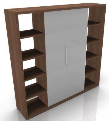 Odessa Designer Bookcase With Glass Finish Doors In Amber Walnut