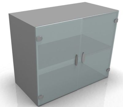 Odessa Low Glass Cupboard With Clear Door And Aluminium Trim