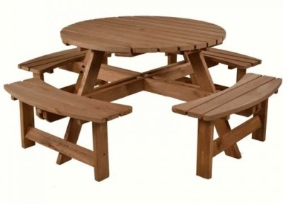 Penzance Circular 8 Seater Picnic Table