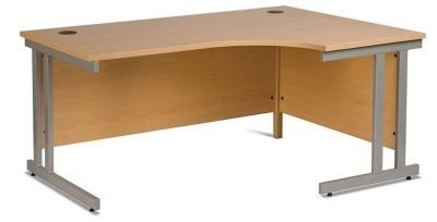 GX Right Hand Corner Desk With Double Strut Cantilever Frame, Two Cable Oulets And Integral Modesty Panel In Beech