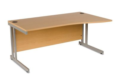 GX Ergonomic Right Hand Wave Office Desk With Metal To Metal Fixings, Floor Levers And Cable Outlets In Beech