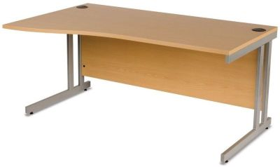 GX Left Hand Wave Desk With Durable Cantilever Frame, Ergonomic And Easy To Assemble In Beech With Silver Double Strut Design For Extra Stablility