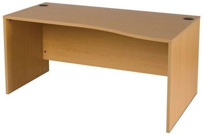 GX Right Hand Wave Desk With Side Panel Leg Design In Beech, Made In The Uk