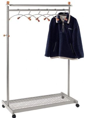 Modus Freestanding Coat Rack With Large Base, 2 Locking And Unlocking Castors And Side Hooks And Six Coat Hangers, Powder Coated Steel In A Silver Finish
