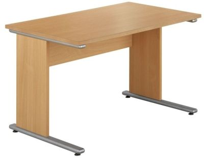Taurus Rectangular Office Desk In Beech With Anti Knock Edge Protection And Floor Levellers