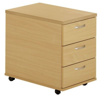 Taurus Mobile Pedestal In Beech With Three Box Drawers And Designer Bow Shaped Metal Handles