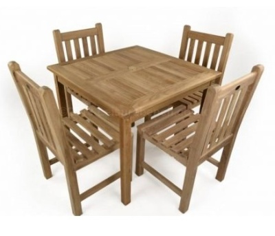 Coventry Teak Outdoor Dining Set Aerial View