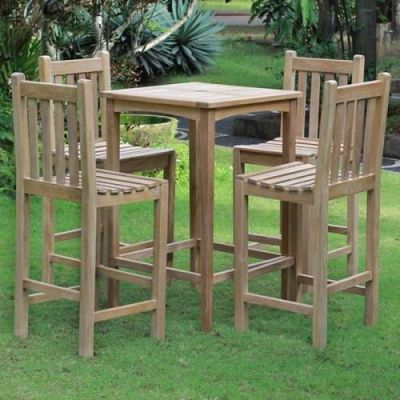 Dover Set Of Wooden High Stools Amd Matching Table