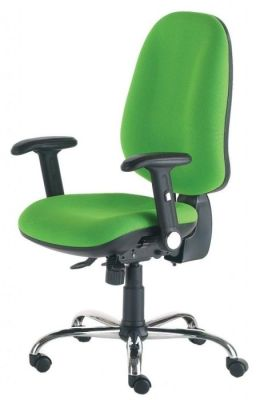 Eco Posture Chair With Large Seat And Extra High Back, Pump Up Lumbar Support And Contoured Seat In Green