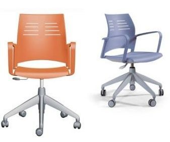 Spacio Swivel Operator Chairs With Anti Slip Seat And Stiletto Base In Orange And Light Blue