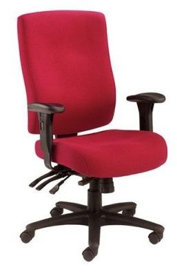 Marathon 24hr Call Centre Chair Upholstered In Red With Forward Seat Tilt And Independent Seat Tilt, Adjustable Torsion Control And Ratchet Back
