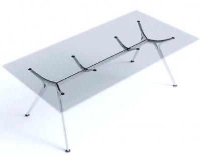 Arkitek Clear Glass Desk With Silver Frame