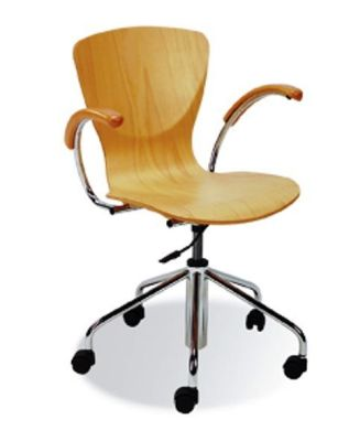 Bingo Plywood Swivel Chair With Chrome Frame And Arms On Stiletto Base