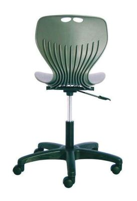 Matal Polyurethane Computer Chair In Green With Shaped Back