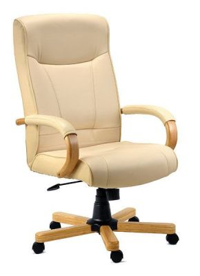 Dalston Cream Leather Executive Swivel Reclining Chair With Wood Base And Arms