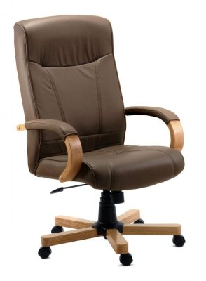 Dalston Brown Leather Managers Swivel Chair With Wooden Base