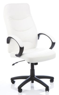 Atal White Bonded Leather Managers Chair With Stitching Detail