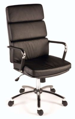 Decodo Designer Black Faux Leather Executive Chair With Chrome Arms And Base