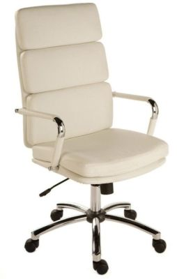 Decodo White Soft Feel Faux Leather Managers Chair With Chrome Base And Arms