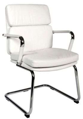 Decodo White Faux Leather Meeting Chair With Chrome Cantilever Frame